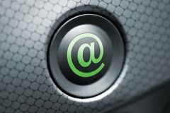 At button grey and green. A button with the at-sign for e-mail Royalty Free Stock Image