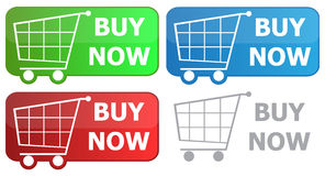 Button grocery cart. With the signature buy now Stock Images