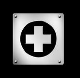 button hälsosymbolsrengöringsduken Royaltyfri Foto