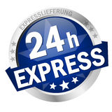 Button 24h Express. Colored button with banner and text 24h Express Stock Photography