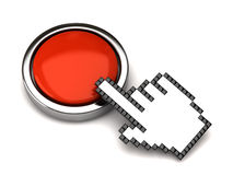 Button and hand cursor Royalty Free Stock Images