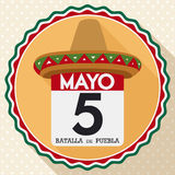 Button with Hat and Calendar Commemorating Mexican Cinco de Mayo, Vector Illustration. Flat design with round button with loose-leaf calendar and reminder date Royalty Free Stock Image