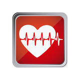 button with heart vital sign with background red Stock Photos