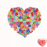 Button hearts  background. Colorful button hearts embellished with fabric patterns  scattered and piled in shape of heart - playful creative  graphic design Royalty Free Stock Photography