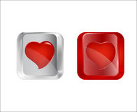 Button with hearts. Royalty Free Stock Images