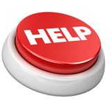 Button help. 3d image of button help. White background Royalty Free Stock Image