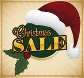 Traditional Christmas Elements Promoting Sales Season, Vector Illustration royalty free illustration