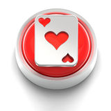 Button Icon: Ace of Hearts. 3D rendered illustration of button icon with Ace of Hearts Royalty Free Stock Photography