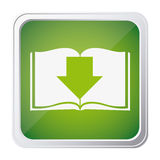 button icon of book with arrow down with background green Royalty Free Stock Photos