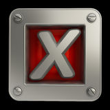 Button icon with cross symbol. 3D button icon with cross symbol isolated on black background High resolution Stock Photo