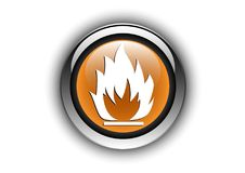 Flame button design glossy texture effect. Button icon design with conceptual Royalty Free Stock Images