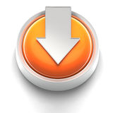 Button Icon: Download. 3D rendered illustration of button icon with Download symbol Stock Photos