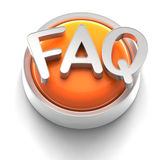 Button Icon: FAQ. 3D rendered illustration of button icon with FAQ symbol stock illustration