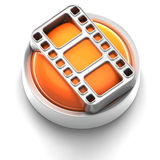 Button Icon: Film. 3D rendered illustration of button icon with Film symbol Stock Photography