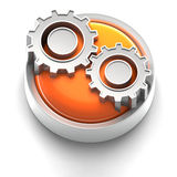Button Icon: Gear. 3D rendered illustration of button icon with Gears Icon Stock Photo