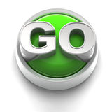 Button Icon: GO. 3D rendered illustration of button icon with GO word Royalty Free Stock Photo