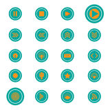 Button icon green orange set Royalty Free Stock Images