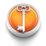 Button Icon: Key. 3D rendered illustration of button icon with Key symbol Royalty Free Stock Photo