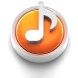 Button Icon: Music. 3D rendered illustration of button icon with music note symbol Stock Photo