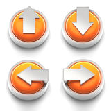 Button Icon: Set of Arrow Buttons. 3D rendered illustration of button icon set  featuring directional arrows Stock Photo