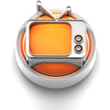 Button Icon: TV. 3D rendered illustration of button icon with TV symbol Stock Images