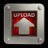 Button icon with upload symbol. 3D button icon with upload symbol isolated on black background High resolution Stock Photo