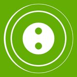 Button icon green. Button icon white isolated on green background. Vector illustration Stock Photography