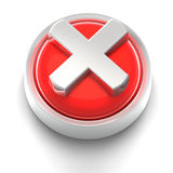 Button Icon: X. 3D rendered illustration of button icon with X symbol Royalty Free Stock Images
