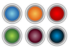 Button icons. Six button icons in white background Royalty Free Stock Photography