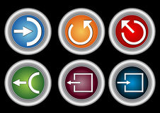 Button icons. Six button icons in black background Stock Photo
