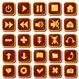 Button icons are red with gold-vector illustration Stock Photo