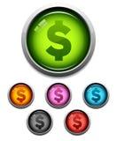 button ikony pieniądze Fotografia Royalty Free