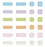 Button illustrations. Selection of different shaped button illustrations Stock Photos