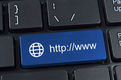 Button with Internet address http www and globe icon. Keyboard button with Internet address http www and globe icon Royalty Free Stock Images