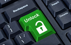 Button keypad unlock with padlock Royalty Free Stock Images