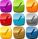 button kontrollsymbolsseten Arkivfoto