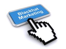 Blackhat marketing. A button with the label Blackhat marketing and a finger cursor clicking on it Stock Images