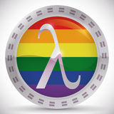 Button with Lambda Symbol for Equality Rights in Gay Pride, Vector Illustration Stock Image