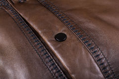 Button on a leather jacket Royalty Free Stock Photography
