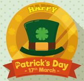 Button with Leprechaun`s Hat in Flat Style for Patrick`s Day, Vector Illustration Stock Photos