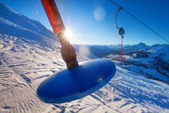 Button lift at mountain ski resort in the morning Royalty Free Stock Images
