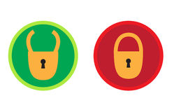 Button Lock. Two buttons on a white background Stock Photos