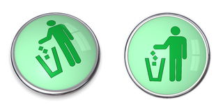 Button Man uses Wastebin Pictogram Royalty Free Stock Photo