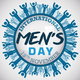 Button with a Masculine Multitude Commemorating International Men`s Day, Vector Illustration Stock Photo