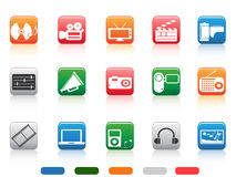 Button media tools icon set Stock Photos