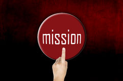 Button mission with finger pointing Stock Image