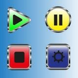 Button multicolored control menu stock photos