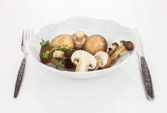 Button mushrooms and brown beech mushroom in bowl with fork and knife. On white background Stock Image