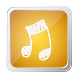 Button of musical note with background yellow and hand drawn Stock Photos