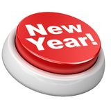 Button New year. 3d image of button New year. White background Royalty Free Illustration